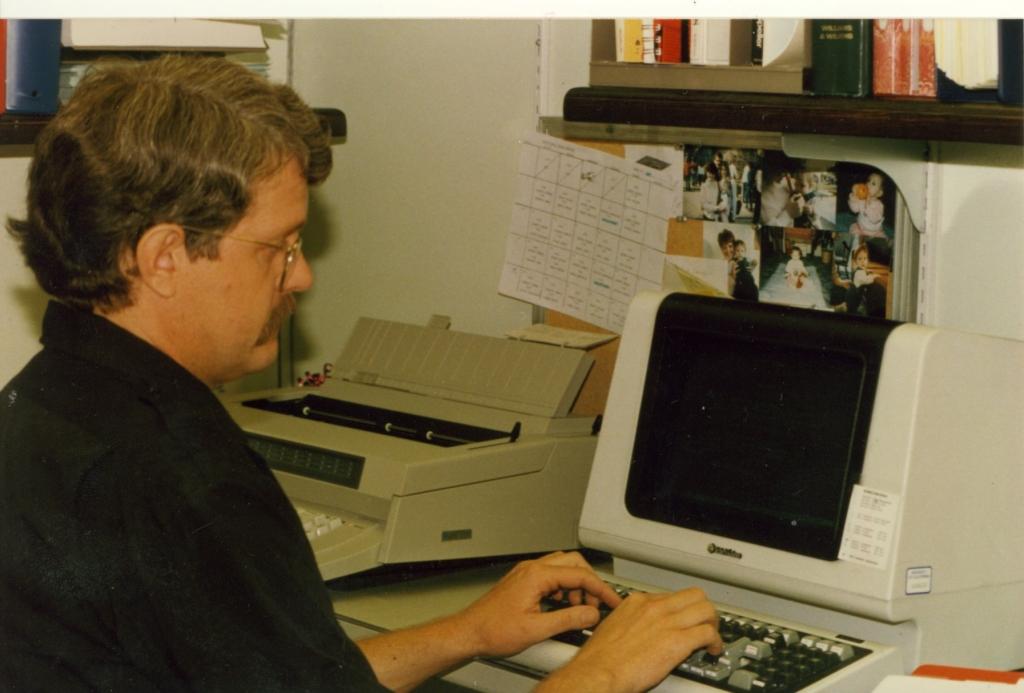 Dr. Lerche at his computer, circa 19??